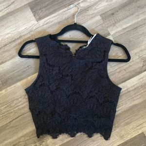 Black Lace Crop Top Size M